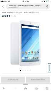"""Acer Iconia One 8"""" 16GB Android 5.1 Tablet with MT816- White"""