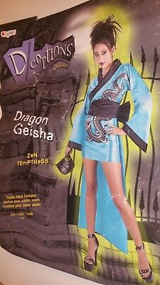 Young Adult Womens Halloween Dragon Geisha Mini-Dress Complete Costume 7-9