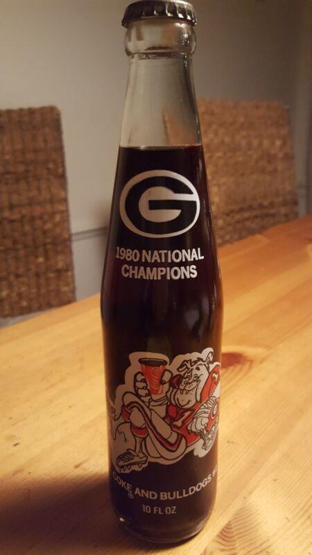 1980 UGA GEORGIA BULLDOGS NATIONAL CHAMPIONS COKE BOTTLE UNOPENED FREE S/H!