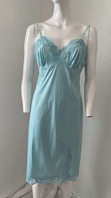 Vintage 50's Luxite Keyser Nin Slip Dress Turqouis Blue 34