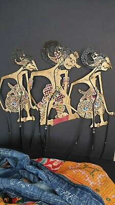 Old Balinese Hand Painted Stick Puppets …beautiful collection set
