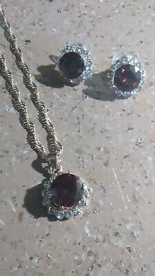 Garnet and CZ Gold 18' Necklace & Earring Set Garnet Necklace And Earring Set