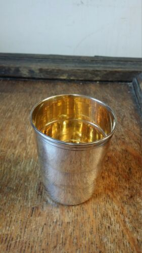ANTIQUE / VINTAGE COLLAPSABLE CUP - SILVER PLATE AND GILT