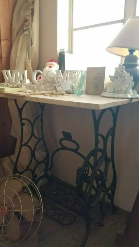 Antique Cast Iron Treadle Base w/ Removable Marble Top - Accent Table