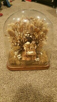 AMAZING Old Vintage GLASS DISPLAY DOME CLOCHE w/WOOD BASE for Christmas Display ()