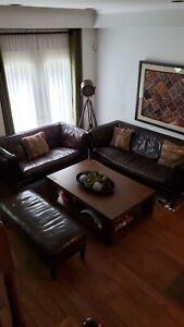 3 Piece Leather Sofa Set (Crate and Barrel)