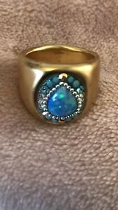 925 STERLING SILVER 24 CT GOLD PLATED OPAL RING SIZE R