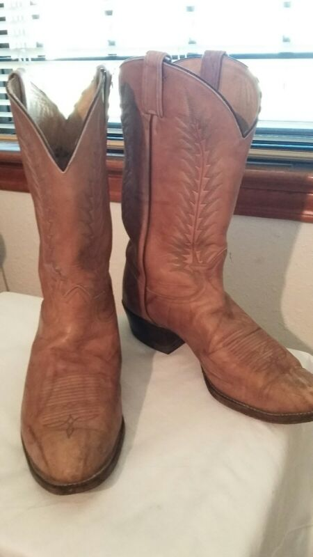Tony, Lama, Mens, Distressed, Leather, Beige, Tan, Cowboy, Boots, Size, 14