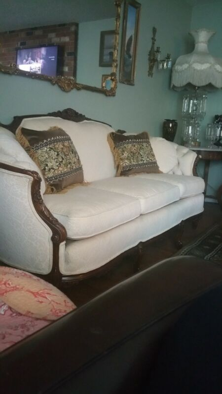 Antique  French Sofa in Ivory Velvet Brocade