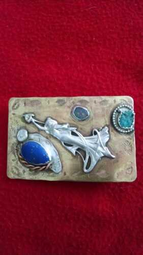 Sterling Silver, Turquoise, Lapiz, Fire Opal, Handmade Brass Belt Buckle