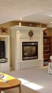 Napoleon gas fireplace with blower and mantel