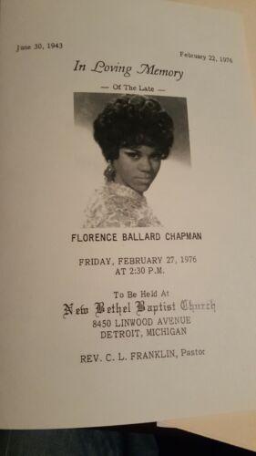Florence Ballard, Singer Of Famous Supremes  Obituary Funeral  Program Excellent