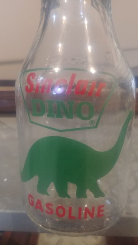 Sinclair Dino  Glass Motor Oil Bottle with Tin Master Spout & Cap vintage style