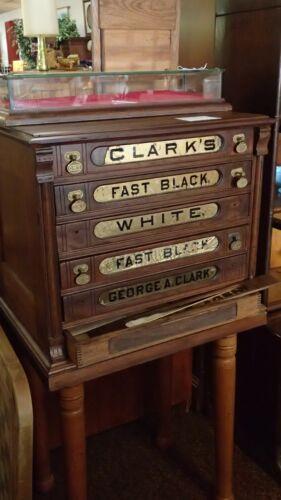 GEORGE CLARK 6 DRAWER SPOOL CABINET ORIGINAL HARDWARE GENERAL STORE ADVERTISING