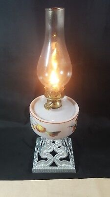 "Vintage 15.25"" High Cast Iron Based with White China Oil Bowl and Brass Oil Lamp"