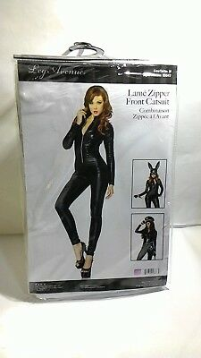 Leg Avenue Women's Wet Look Zipper Front Cat Suit, Black Size M