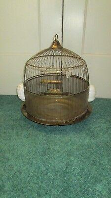 Antique 1930 HENDRYX BRASS BEEHIVE BIRD CAGE~FEEDERS~TREAT~SWING  Wedding/Decor