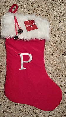 "MONOGRAMMED PLUSH CHRISTMAS STOCKING w/ Bells, LETTER  ""P""  Xmas Decoration NEW!"