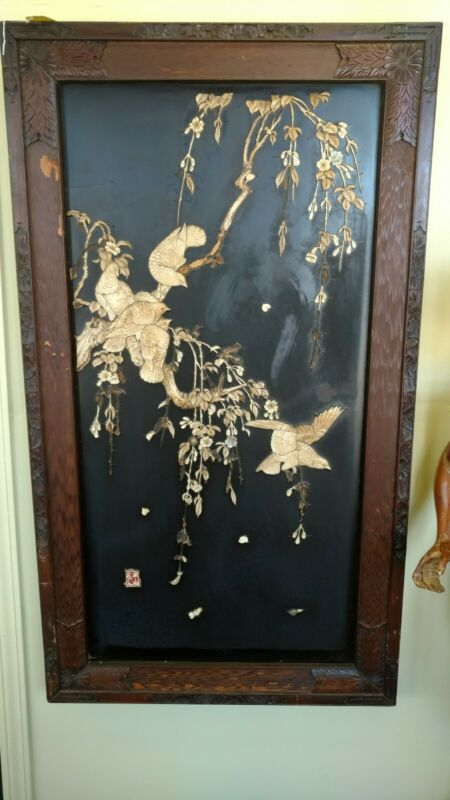 Antique Asian Lacquer Panel Early 1900 special bone inlay