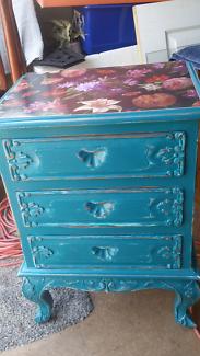 Ornate revamped teal bedside/side table