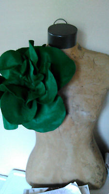 Mothers Day Formal Holiday Dark Green Felt Over sized Rose Magnet Pin Brooch