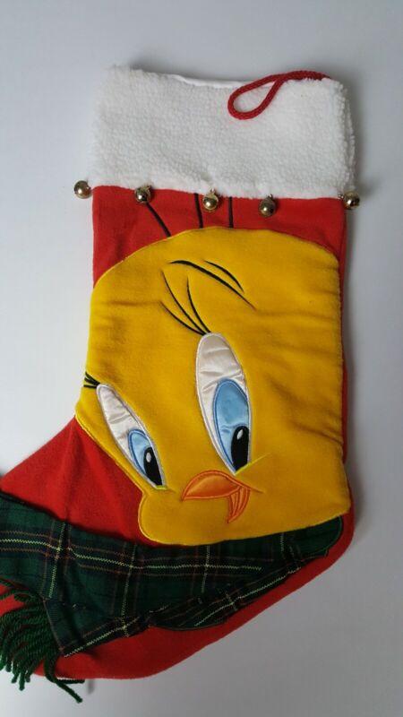 Vintage Warner Bros Studio Store Christmas Stocking Tweety Bird 1999