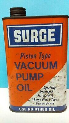 Vintage Surge Vacuum Pump Oil In Original Can 3/4 Full