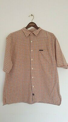 Nautica Short Sleeve Shirt Men's Size XL Checked Orange Great Condition