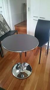 Cafe quality heavy coffee table + 4 leather seats in black Eastwood Ryde Area Preview