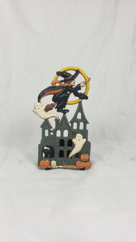 Vintage Cast Iron Halloween Candle Holder Haunted House w/ Witch and Ghosts
