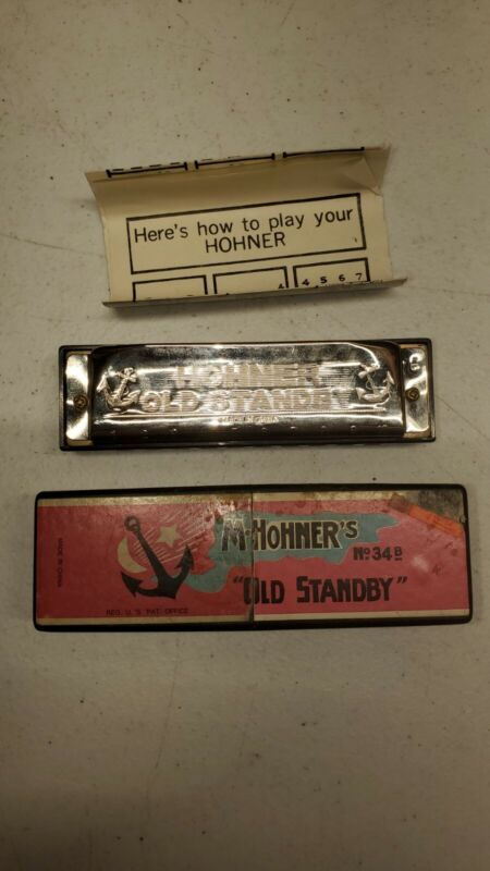 Vintage M Hohner Old Standby No. 34B Harmonica in Original Box A31