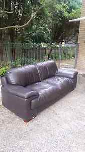 Chocolate Brown Leather Couch FREE! Grays Point Sutherland Area Preview