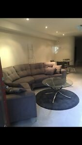 Stainless steel glass coffee table & grey highpile rug