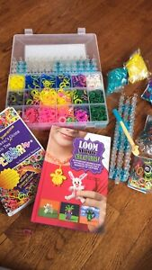2 Rainbow Looms - carrying case, books and lots of elastics