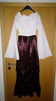 Mittelalter, Kleid dreifarbig, Trompetenärmel, Kostüm, Fasnacht  in XL