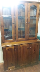 Solid oak buffet with glass display top. Bidwill Blacktown Area Preview