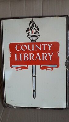 VINTAGE COUNTY LIBRARY ENAMEL SIGN.