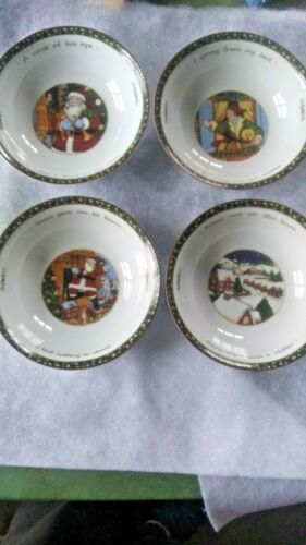 "Excellent Four 8"" Bowls Susan Winget PS  Portmeirion Christmas Story"