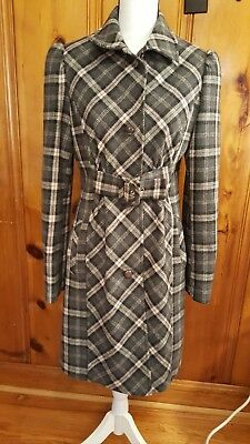 (VIA Women's size 8 Winter Coat Jacket Wool Blend  Plaid Belted Front )