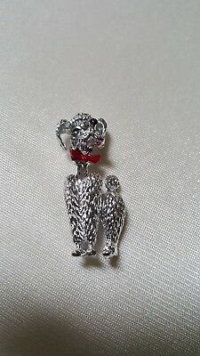 "Vintage SilverTone Poodle Brooch Pin- Red Bow -Approx. 1 1/2"" Long"