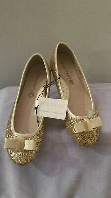 Gold Toe Glitter Ballet FLAT With BOW and Arch SUPPORT SIZE  11](Glitter Flats With Bow)