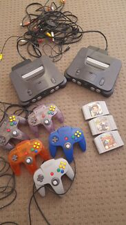 2 Nintendo 64 consoles + games + controllers  Bathurst Bathurst City Preview