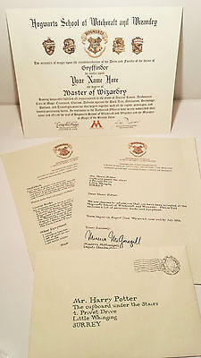 Harry Potter Hogwarts Diploma   Acceptance Letters   Personalized