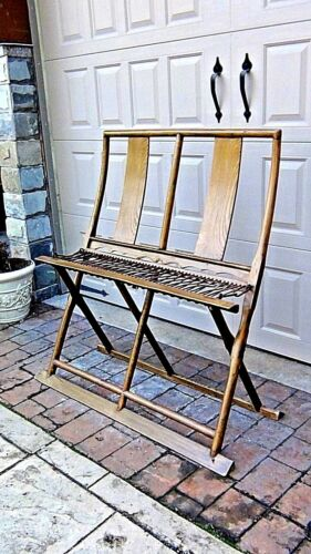 ANTIQUE19c CHINESE ELM WOOD FOLDING BENCH W/RECLINEAR X-STYLE FRAME,ROPED SEAT