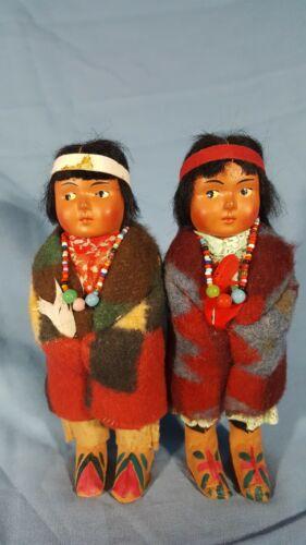 Pair of Skookum Bully Good Indian Dolls 1930