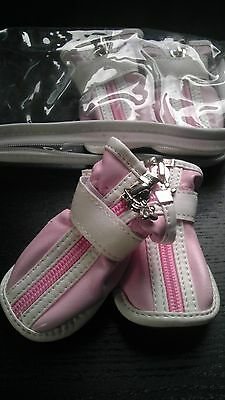 (JML Designer Dog Shoe/Boots Size 4 Baby Pink- Female, S)