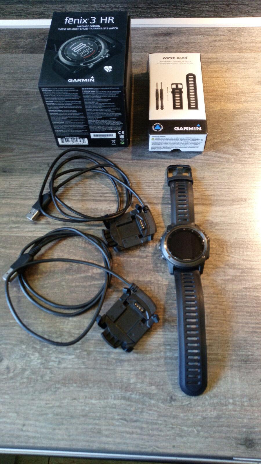Garmin fenix 3 Saphir HR 1,2 Zoll GPS-Multisportuhr mit Schwarzem...