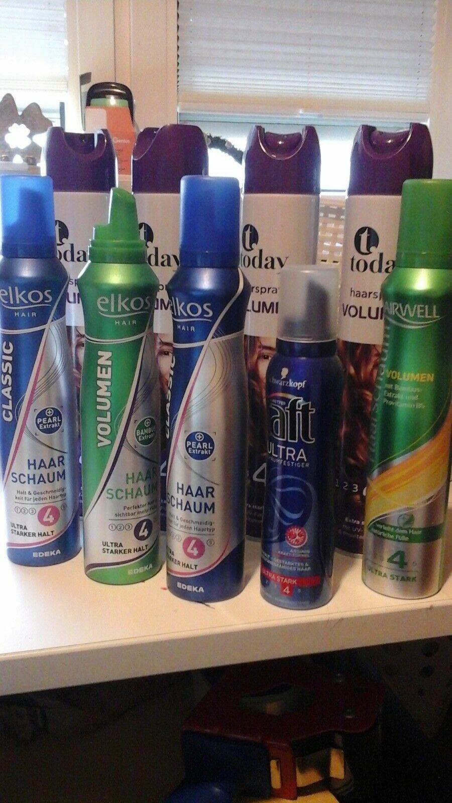 9 tlg. Paket Haarschaum + Haarspray, z. Teil Neu