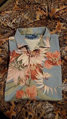 Rare! Polo Ralph Lauren  Floral Hawaiian Polo Shirt Size Large Custom Fit NWOT Custom Hawaiian Shirt