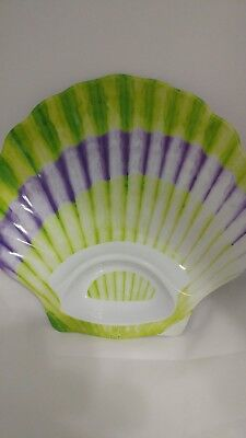 Giant Large Sea Shell Clam Serving Party Beach Plastic Dip Tray with Dip Holder